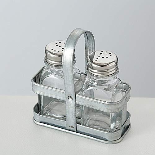 CasaJame Hogar Cocina Almacenamiento Organización Accesorios Dosificadores Aliño Especias Menage Juego de 2 Salero Pimentero en Vidrio con Soporte en Zinc 12x6x12cm