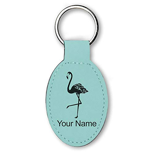 Oval Keychain, Flamingo, Personalized Engraving Included (Teal)