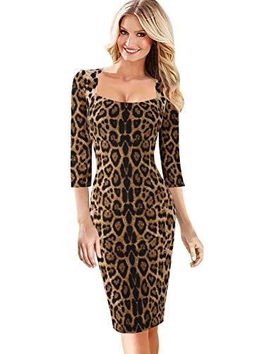 VFSHOW Womens Leopard Print Square Neck Business Cocktail Bodycon Dress 1819 Leo L