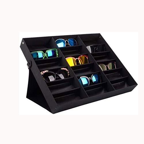 GFDFD Caja de Almacenamiento, Gafas de Sol Pantalla Organizador, Gafas de visualización Cuadro Titular 18 Compartimiento Plegable con Tapa for los vidrios de la joyería del Soporte del Reloj
