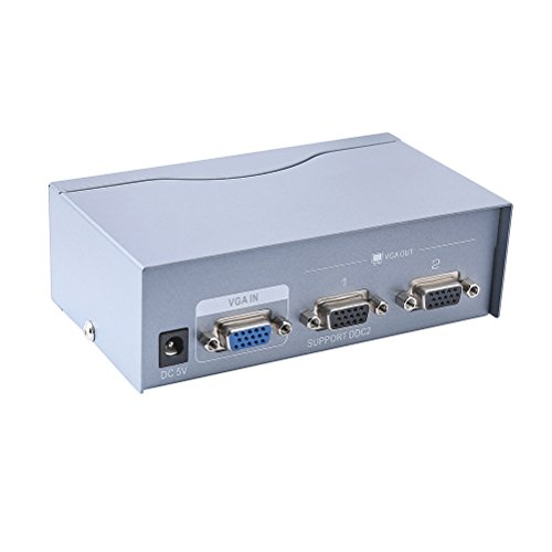 DTECH 2 Way Powered VGA Splitter Amplifier Box High Resolution 1080p SVGA Video 1 in 2 Out 250 Mhz for 1 PC to Dual Monitor Computer