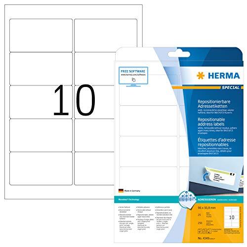 HERMA 4349 Adressaufkleber DIN A4 ablösbar (96 x 50,8 mm, 25 Blatt, Papier, matt) selbstklebend, bedruckbar, abziehbare und wieder haftende Adress-Etiketten, 250 Klebeetiketten, weiß