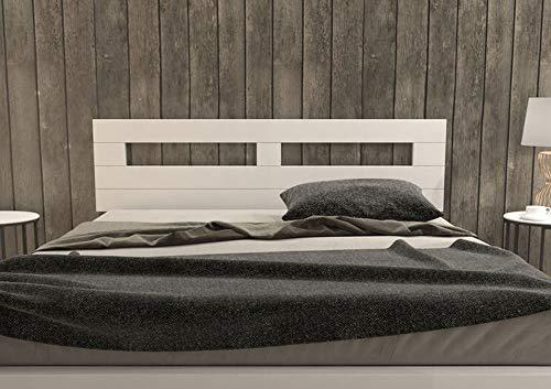 LA WEB DEL COLCHON - Cabecero de Madera Rústico Toscana para Cama de 150 (160 x 44 cms.) Blanco nórdico | Cabeceros Madera | Dormitorio Matrimonio | Cabezal Cama |Estilo nórdico