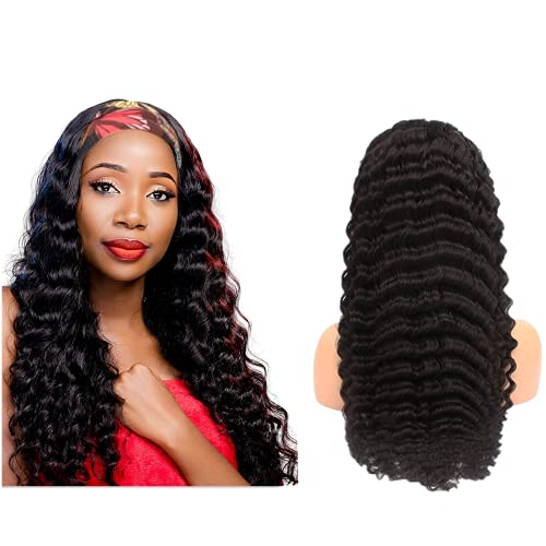 Woeviigo Headband Wigs for Black Women Human Hair 18inch Loose Deep Wave Wigs Natrual Black Color None Lace Front Brazilian Virgin Hair Wig Glueless 150% Density Remy Hair 10A Curly