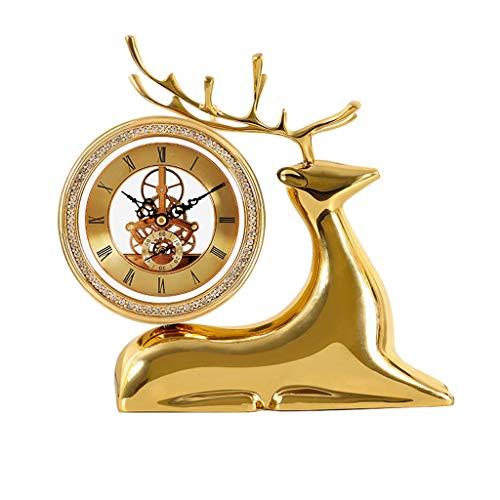 Tingting1992 Alarm Clock Pure Copper Table Clock Brass Imitation Mechanical Movement Desktop Clocks Living Room Desktop Ornaments High-end Table Clock Mantel Clock Desk Clock (Color : B)