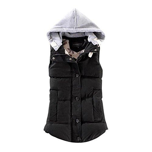 Rosennie Damen Weste Mit Kapuze Übergangsweste Winter Warm Ärmellos Sweatweste Jacke Baumwolle Solide Waistcoat Herbst Jacket Outerwear Mantel