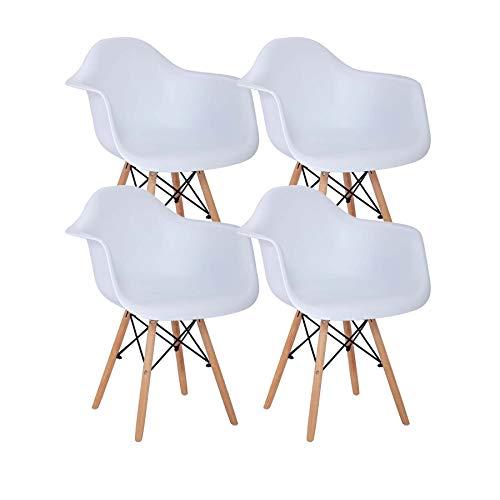 Uderkiny Conjunto de 2/4 sillas de Comedor con reposabrazos, Adecuado para Cocina Sala de Estar Comedor Dormitorio (Blanco-4)
