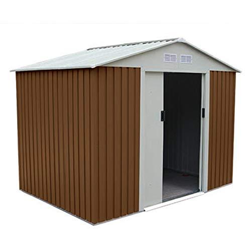 GARDIUN KIS12910 - Caseta Metálica Cambridge 4,72 m² Exterior 181x261x198 cm Acero Galvanizado Marrón