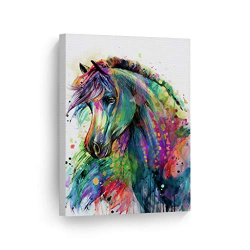 Smile Art Design Horse Watercolor Painting Colorful Rainbow Portrait Canvas Print Decorative Art Wall Décor Artwork Wrapped Wood Stretcher Bars - Ready to Hang -%100 Handmade in The USA - 12x8