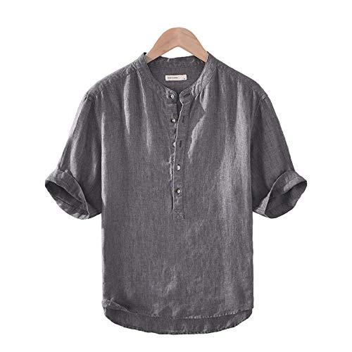 Camisa de Cuello Alto con Botones para Hombres Camisa Lisa, Recta, Holgada, cómoda, Camisa de Manga Corta, Camisetas Casuales Simples de Verano X-Large