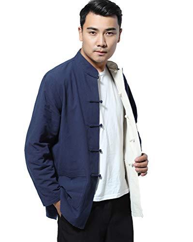 Daoba Homme Réversible des Deux côtés Manteau Veste Costume Tang Chinois Traditionnel Manche Longue Arts Martiaux Kung FU Chemise Unisexe