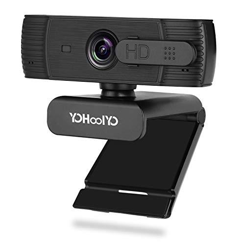 YOHOOLYO Webcam per PC con Microfono, 1080P Full HD USB 2.0 Webcam con Autofocus, con Sportellino per la Privacy, Videocamera per Chat, Video e Registrazione, Compatibile con Windows e Mac