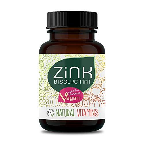 NATURAL VITAMINS® Zink - Hochdosiert 25mg: Zink-Bisglycinat (Zink Chelat) I Zinktabletten 100% natürlich | Vegan & ohne unerwünschte Zusätze | 365 Tabletten (1 Jahr)