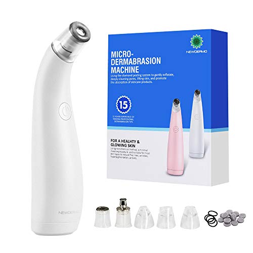 NEWDERMO 2-IN-1 Microdermabrasion Rechargeable Machine For Facial And Body,Electric Blackhead Remover Pore Vacuum Cleaner-With 5 Suction Heads Replaceable (White)