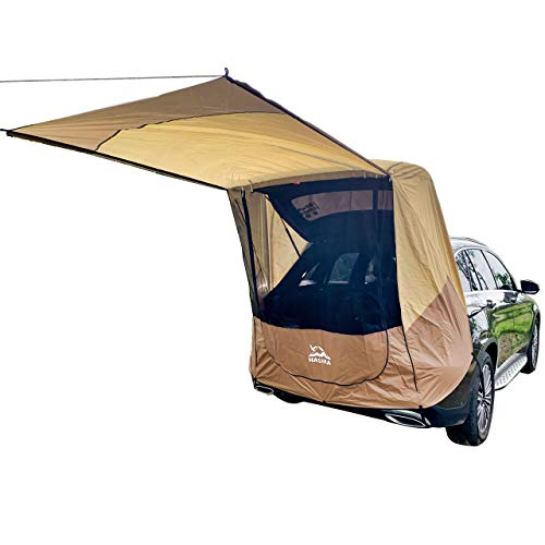 Hasika Tailgate Shade Awning Tent for Car Travel Small to Mid Size SUV Waterproof 3000MM Yellow