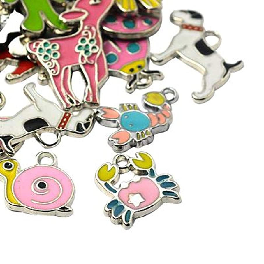 PandaHall 100pcs Black Alloy Ghost Enamel Charms for Earring, Bracelets, Necklace Making, Hole: 1mm