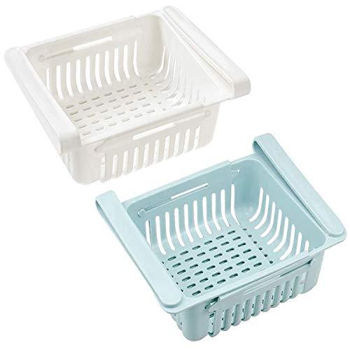 2 Stück Kühlschrank Schubladen Kühlschrank-Organizer Einstellbare Lagerregal Kühlschrank Schubladen Ausziehbar Kühlschrank Partition Lagerregal Einstellbar Kühlschrank Korb Klemmschubladen