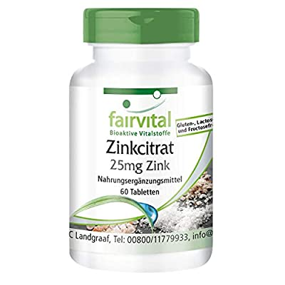 fairvital - Zinc Citrate with 25mg Zinc - Bioavailable, Organic & In Pure Form - 60 Tablets by fairvital