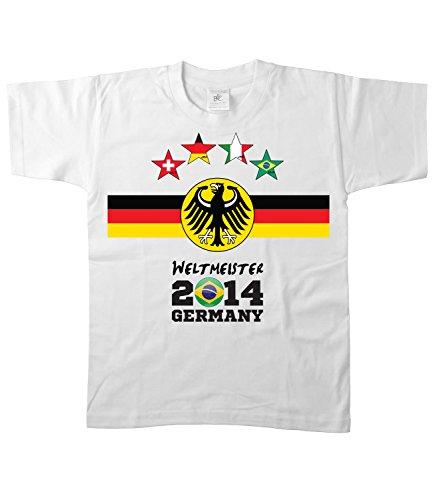 Artdiktat Kinder Deutschland Fan T-Shirt - Kids - 4 Sterne Fussball Weltmeister 2014 Germany - Trikot Ersatz - Wunschname und Nummer Größe 110/116, weiß