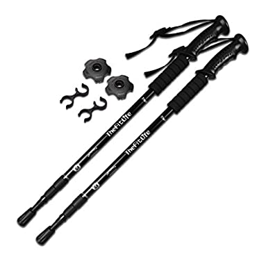 TheFitLife Nordic Walking Trekking Poles - 2 Packs with Antishock and Quick Lock System, Telescopic, Collapsible, Ultralight for Hiking, Camping, Mountaining, Backpacking, Walking, Trekking (Black)