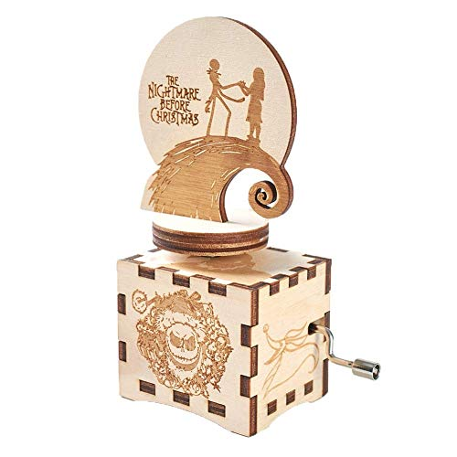 Mhjmijb The Nightmare Before Christmas Music Box della manovella Musical Box Intagliato in Legno Musical, Musical Box Migliore Regalo for i Bambini, Amici