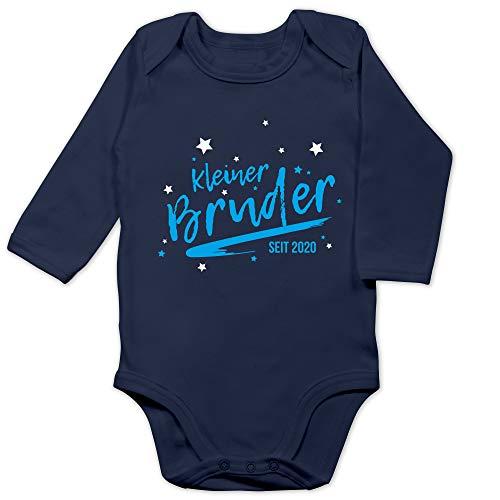Shirtracer Geschwisterliebe Baby - Kleiner Bruder seit 2020-3/6 Monate - Navy Blau - Bruder 2020 Body - BZ30 - Baby Body Langarm
