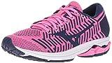 Mizuno Women's Wave Rider 22 Knit Running Shoe, Pink glo-Sodalite Blue, 9.5 B US