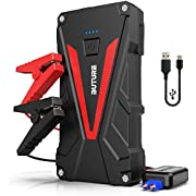 Car Jump Starter, 800A Peak 12800mAh Portable Car Battery Starter (up to 6.0L Gas/5.0L Diesel Engines)Auto Battery Booster Pack with Smart Safety Jumper Cable, QC3.0 USB Outputs with LED Flashlight