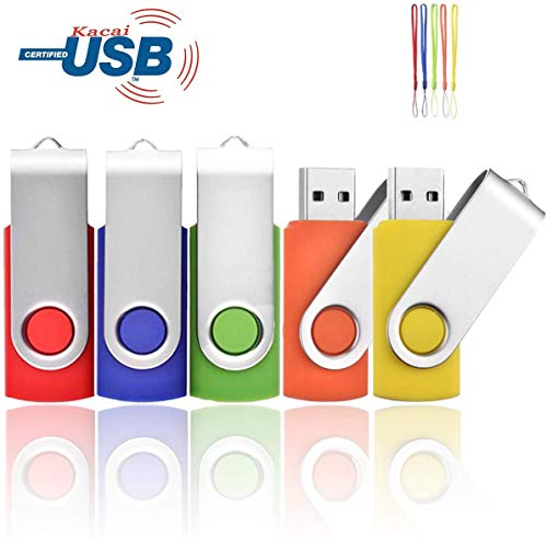 USB stick kacai 5 pieces with rope -Red/Blue/Green/Orange/Yellow 4GB