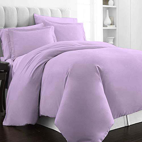 Pizuna 400 Thread Count Cotton Queen Duvet Cover Set, 100% Long Staple Cotton Lavender Bed Sets Full, Luxury Soft Sateen Queen Bedding Sets with Button Closure (Lavender Duvet Cover)