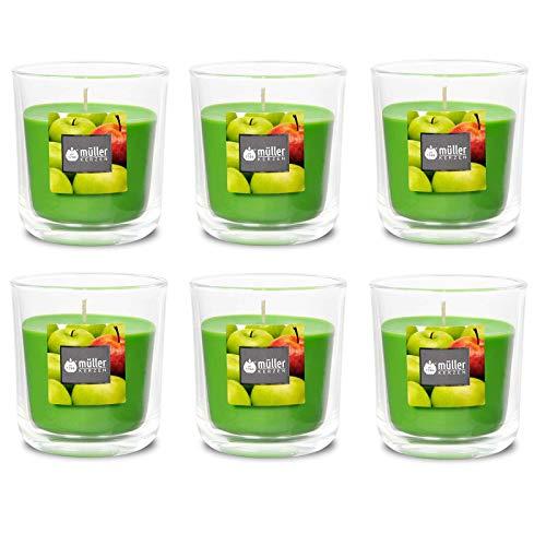 Duft-Kerzenglas 65/70 mm Set 6 Stk. Duftglas Duftkerze Duftkerzen-Glas Teelichter Duftlichter Juicy Appel