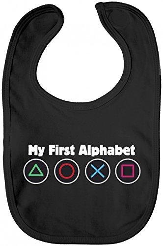 ShirtStreet Geek Nerd Gamer Lätzchen Baumwolle Baby Bib Jungen Mädchen Game Controller - My First Alphabet, Größe: onesize,Black