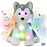 Hopearl LED Musical Stuffed Husky Light up Singing Plush Dog Adjustable Volume Lullaby Animated Soothe Birthday Christmas Winter Gifts for Kids Toddler Girls, Gray, 12''