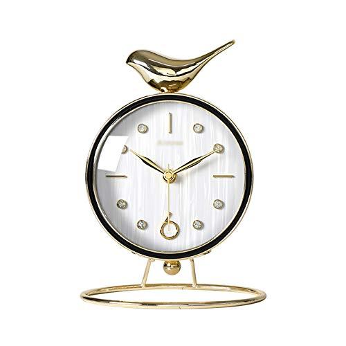 Xiaokeai El Reloj de Escritorio Lindo con la Base de Metal, el Reloj de Mesa Creativo del Escritorio del hogar/Reloj de Manto, se Puede Utilizar Familia (Color : White)