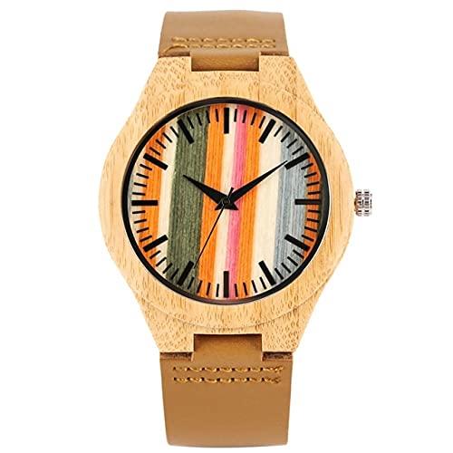 KUELXV Orologio da polso in legno Orologio da uomo in legno a righe uniche con cassa colorata in legno orologio da polso al quarzo per cinturino in pelle casual moda maschile, solo orologio