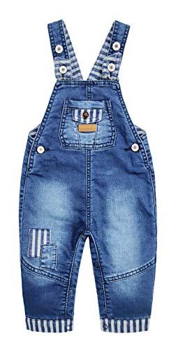 KIDSCOOL SPACE Baby Jungen Latzhose mit Druckknöpfen, Jeans-Overall Gr. 2-3 Jahre, blau