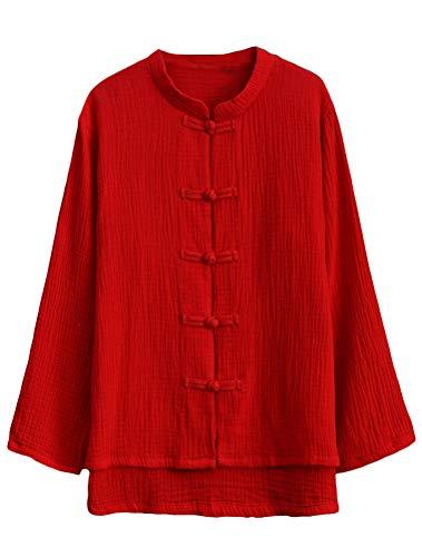 Mallimoda Chemisier Femme Lin Coton Blouse Manches Longues Vintage Classique Boutons Chemise Tops Rouge