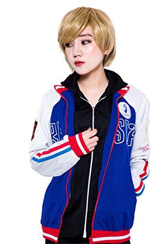 JapanAnimeCosplayExcellent Yuri!!! on Ice Plisetsky Cool School Unisex Zip-Up Pocket Outdoor Sportswear Costume (S(5'1))