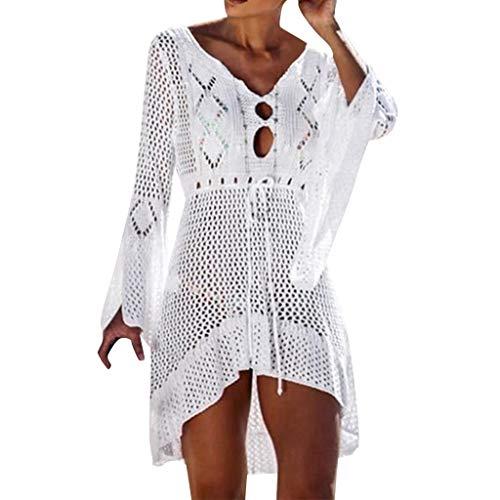 YWLINK Damen Hohl Pullover Lange Ärmel Sommer Sonnencreme Bluse Cover Up Bikini Bademode Stricken Strand(Weiß,Einheitsgröße)