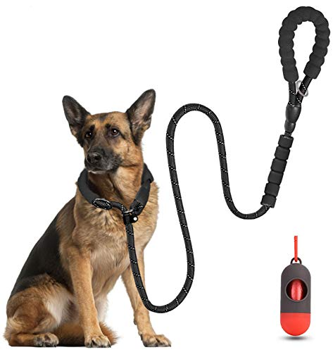 LMOBXEVL Slip Lead Dog Leash,5 FT Heavy Duty Dog Leash with Comfortable Padded Double Handle,Reflective Rope No Pull Dog Leashes for Small Medium Large Dogs (Black)
