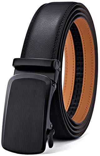 BULLIANT Gürtel Herren,Leder Automatik Gürtel für Männer Kleidung, Größe Angepasst, 015-schwarz595, 110cm/28-36taille verstellbar