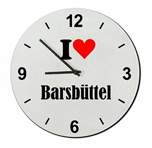 Druckerlebnis24 Glasuhr I Love Barsbüttel eine tolle Geschenkidee die von Herzen kommt| Wanduhr| Geschenktipp: Weihnachten Jahrestag Geburtstag Lieblingsmensch