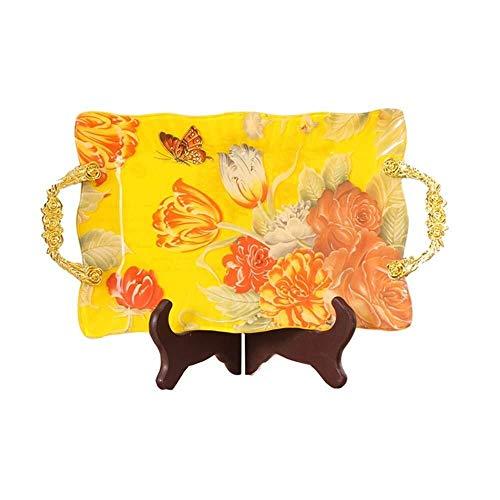Tazón de cerámica Cesta de fruta fruta placa de vidrio plato de fruta merienda flor del cordón de azúcar moderna rectangular de gran bandeja de hielo sashimi plato de fruta seca con proveedor plato de