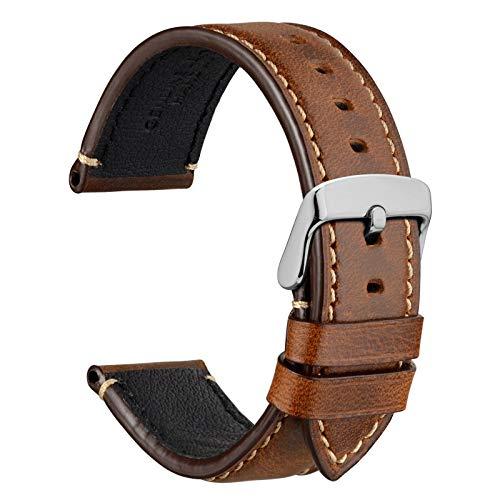 WOCCI 20mm Business Style Correa de Reloj de Cuero con Hebilla Plateada (Marrón Dorado)