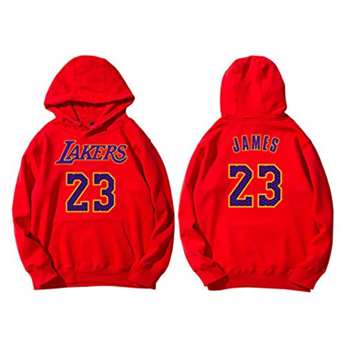 QNL # 23james Basketball Pullover, Kapuzen- und Fleece-Kapuzenpullover Fall/Winter Basketball-Jerseyjacke Männer red- X Thin