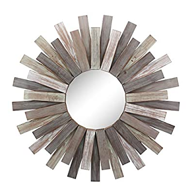 """Stonebriar Large Round 32"""" Wooden Sunburst Hanging Wall Mirror with Attached Hanging Bracket, Decorative Rustic Decor for the Living Room, Bathroom, Bedroom, and Entryway"""