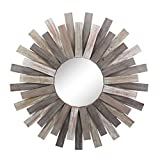 Stonebriar Large Round 32' Wooden Sunburst Hanging Wall Mirror with Attached Hanging Bracket, Decorative Rustic Decor for the Living Room, Bathroom, Bedroom, and Entryway