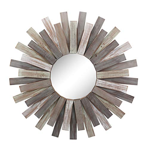 Stonebriar Large Round 32' Wooden Sunburst Hanging Wall Mirror with Attached Hanging Bracket,...