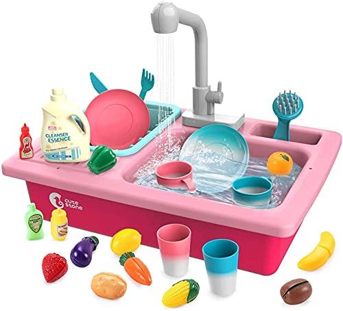 cute stone Küchenspüle Spielzeug Set mit Warmwasserhahn Farbwechsel Geschirr, Wasser-Recycling Waschbecken mit Schneiden Obst für Mädchen ab 3 Jahre (Rosa)