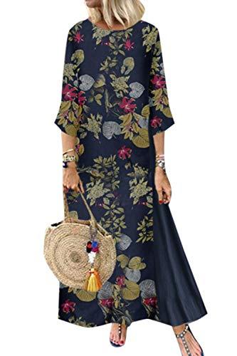 Yulinge Damen Sommerkleid Elegant Baumwolle Leinen Vintage Ärmellos Blumen Baggy Lose Beiläufige Lang Kleider MaxiKleid Plus Size Longfloral5 M